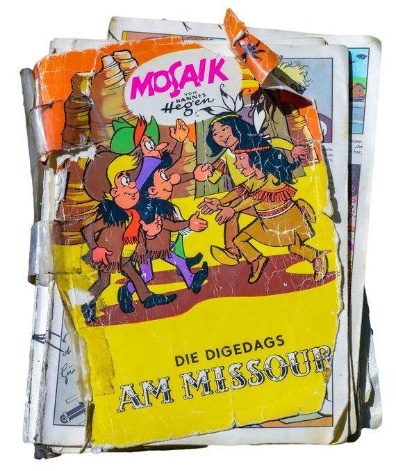 """Suskaityta Hano Hegeno komiksų knyga apie Digo, Dagi ir Digedago nuotykius """"Prie Misurio"""" (pirmą kartą išleista 1976 m., antras leidimas 1990 m., VDR)"""