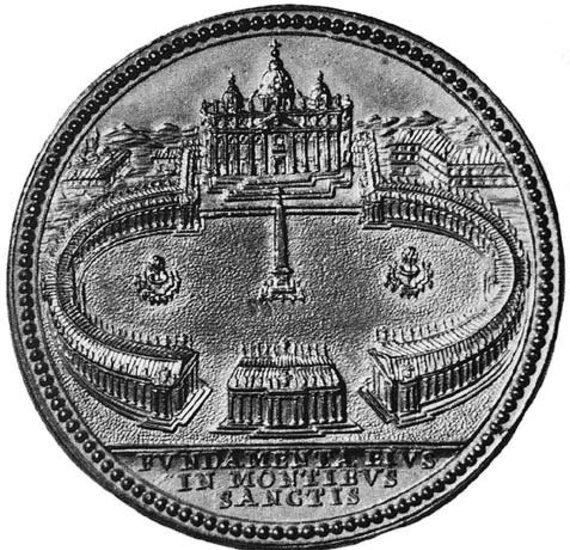 Naujasis Židinys-Aidai nuotr./Proginis šv. Petro aikštės statybų pradžios medalis (Roma Fototeca Unione, 1657)
