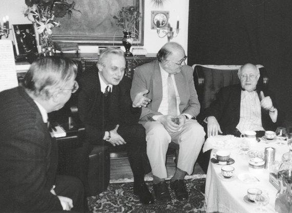 Asmeninio archyvo nuotr./Iš kairės Vytautas Landsbergis, Raimundas Katilius, Donatas Katkus, Mstislavas Rostropovičius, 1997 m.