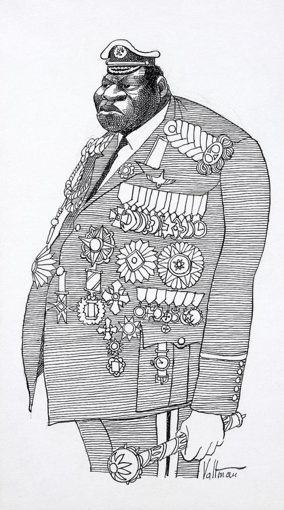 Wikipedia.org nuotr./1977 m. sukurta Edmundo S.Valtmano sukurta Idi Amino karikatūra