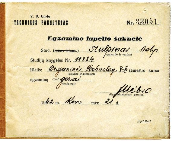 KTU muziejaus archyvo nuotr./Egzaminų lapelio šaknelė, 1942 m.