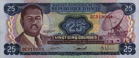 Wikipedia.org nuotr./Jeanas-Claude'as Duvalier ant 25 gurdų banknoto (1973 m.)
