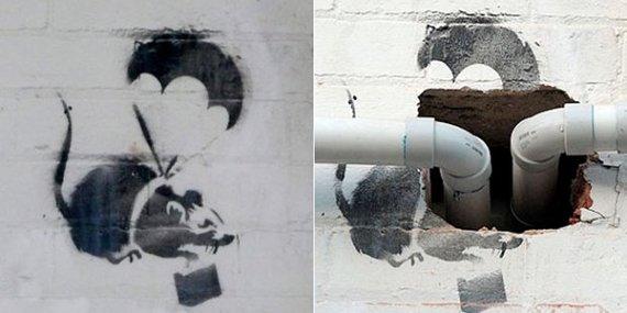 """Flikr.com nuotr.Grafiti menininko /Banksy darbas """"Žiurkė su parašiutu"""""""