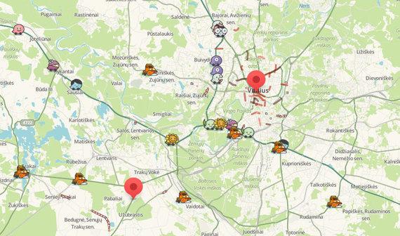 "Waze nuotr./Starto ir finišo taškai ""Waze"" žemėlapyje"