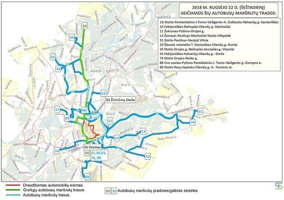 Savivaldybės nuotr./Autobusų maršrutų trasos rugsėjo 22 d.