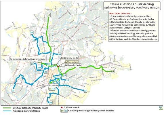 Savivaldybės nuotr./Autobusų maršrutų trasos rugsėjo 23 d.