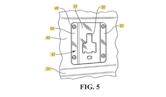 Ford patento eskizas/Tikrasis išradimas - aksesuarų montavimo sistema