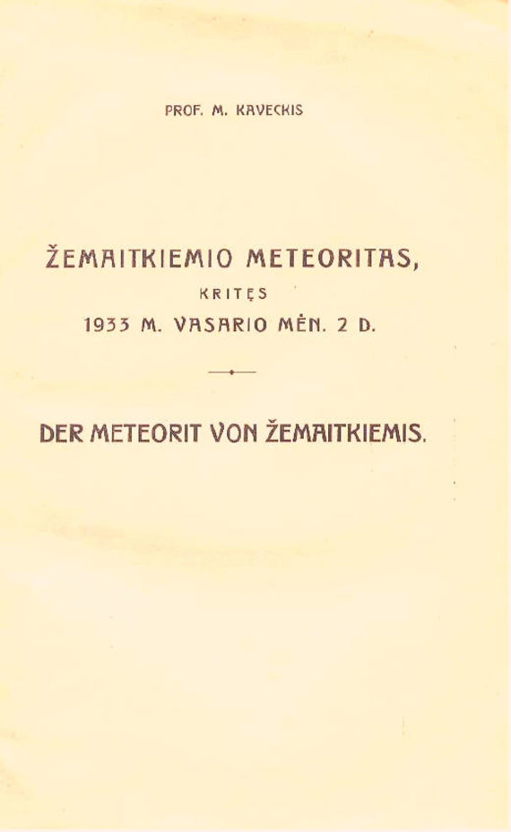 Asmeninis M.Ivanovo fotoarchyvas/Prof. M.Kaveckio brošiūros apie Žemaitkiemio meteoritą viršelis