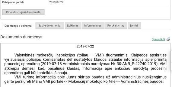 Asm. albumo nuotr./VMI pranešimas