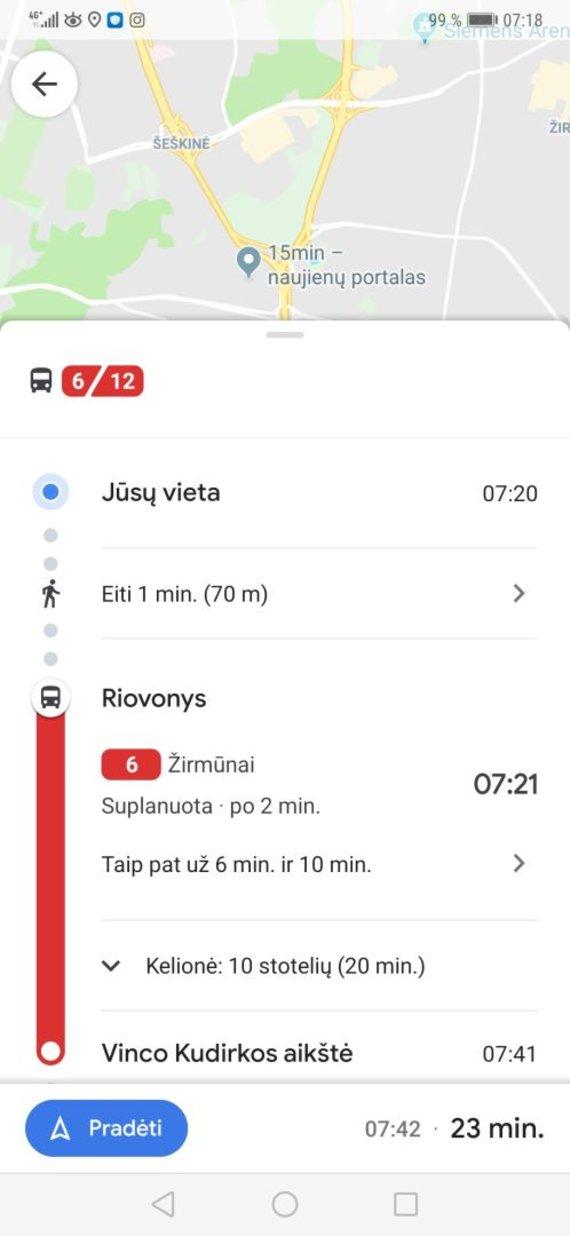 Google Maps maršrutas