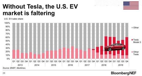 """""""Tesla"""" priklauso 60 proc. JAV elektromobilių rinkos ©BNEF"""