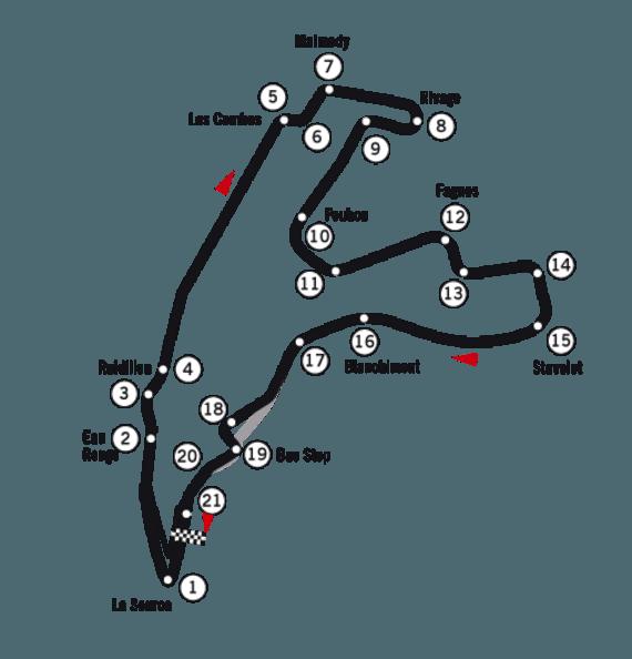 """Scanpix"" nuotr./Spa-Francorchamps trasos žemėlapis – Eu Rouge posūkis pažymėtas numeriu 2. (Wikimedia)"