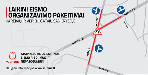 Vilniaus sav. nuotr./Nuo vasario 22 dienos – laikini eismo pokyčiai sostinės Verkių gatvėje