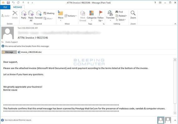 Virusas Locky plinta elektroniniu paštu