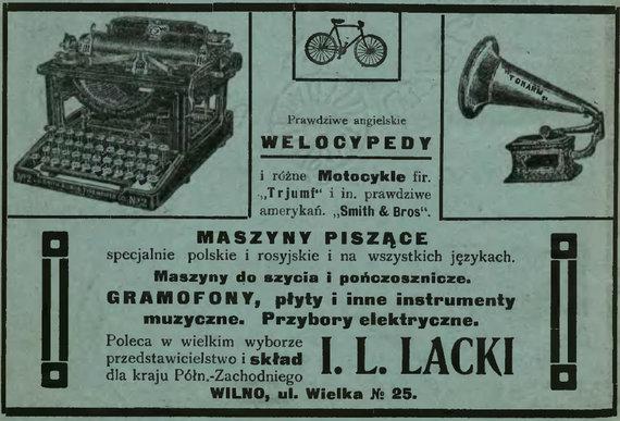 ETM iliustr./Automobilių ir motociklų reklamos Vilniaus spaudoje 1910 m.