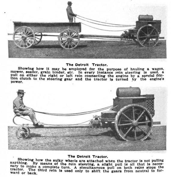 Vienos ašies traktoriai tiesiogiai užėmė arklių vietą. (Detroit Tractor Company, Wikimedia)