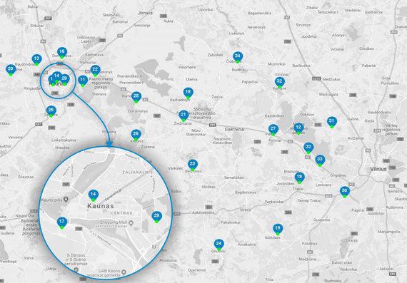 """""""BMW Mototurizmo sprinto"""" objektų žemėlapis"""