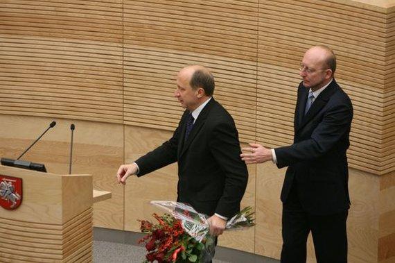 15min.lt/Irmanto Gelūno. nuotr/Andrius Kubilius ir Seimo pirmininkas Arūnas Valinskas