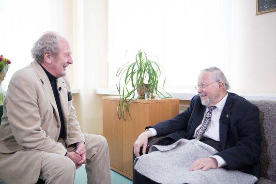Irmanto Gelūno / 15min nuotr./Vytauto Landsbergio susitikimas su buvusiu Islandijos užsienio reikalų ministru Jonu Baldvinu Hanibalssonu Kovo 11-osios proga