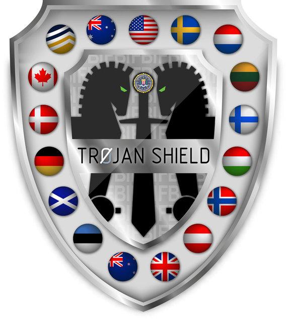 """Policijos iliustracija/""""Trojan Shield / Greenlight"""" operacijos logotipas"""