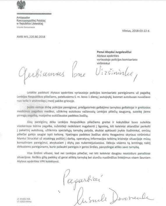 Alytaus apskrities policijos nuotr./Ambasadorės padėka