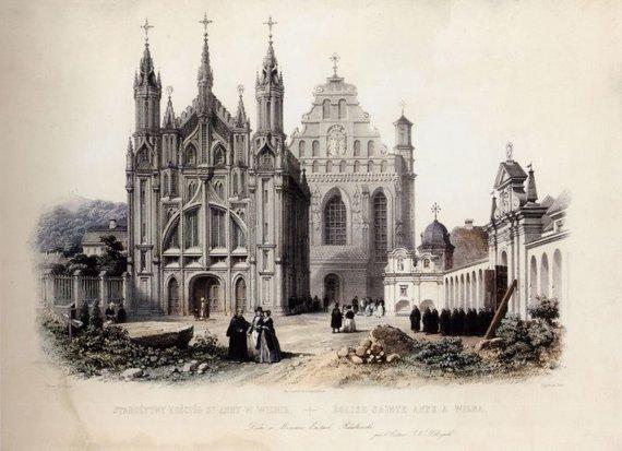 """Lietuvos dailės muziejaus nuotr./Adolfas Žanas Bajo, Filipas Benua """"Šv. Onos bažnyčia"""". 1850"""
