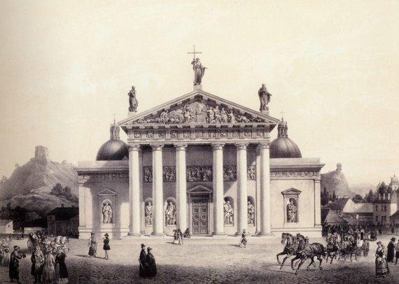 """Lietuvos dailės muziejaus nuotr./Izidorius Derua pagal Vasilijų Sadnikovą """"Vilniaus katedra"""". 1847"""