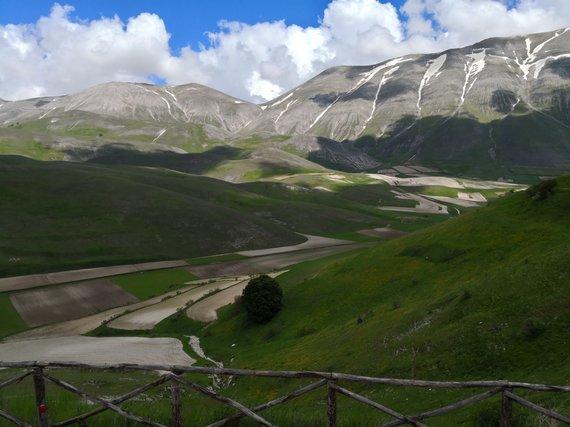 Jurgos Jurkevičienės nuotr. /Castelluccio slėnis Umbrijoje, kuriame auginami geriausi Italijos lęšiai su ES kilmės nuoroda