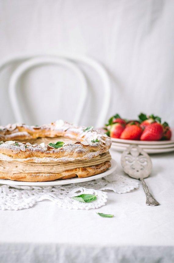 """Tinklaraštininkės nuotr. /Prancūziškas plikytos tešlos pyragas """"Paris-Brest"""""""