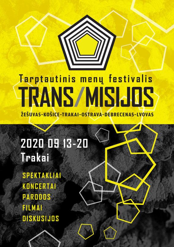 """Tarptautinio menų festivalio """"TRANS/MISIJOS"""" plakatas"""