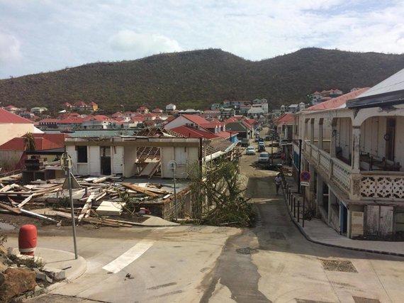 Beatričės Paškevičiūtės nuotr./Uragano Irma nusiaubta Šv. Bartolomėjaus salos sostinė Gustavija