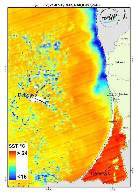 KU nuotr./Jūros paviršiaus temperatūros (SST) žemėlapis 2021-07-19 pagal palydovinius NASA MODIS duomenis.