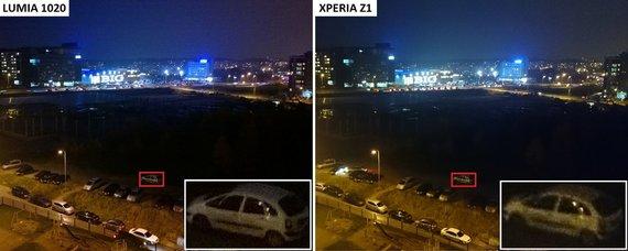"""Gedimino Gasiulio/15min.lt nuotr./""""Nokia Lumia 1020"""" ir """"Sony Xperia Z1"""" fotografijų palyginimas"""