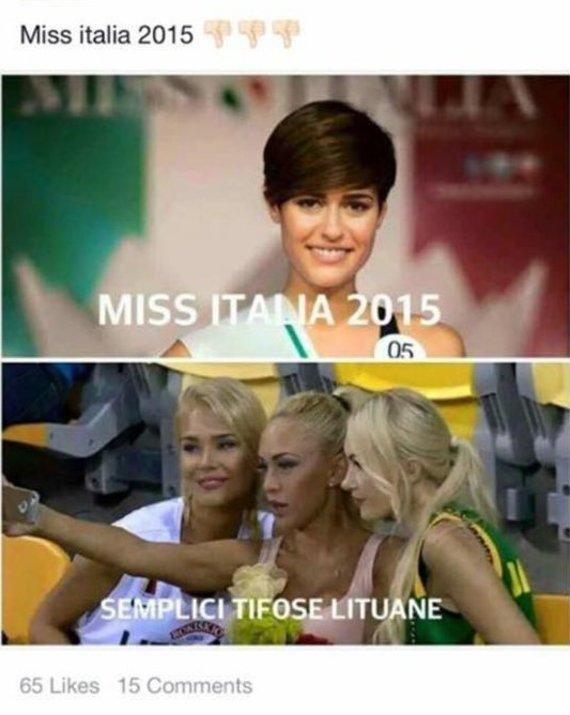"""Socialinio tinklo nuotr./""""Mis Italija 2015"""" Alice Sabatini ir Eglė Valančiūnienė, Oksana Pikul-Jasaitienė, Edita Lavrinovič"""