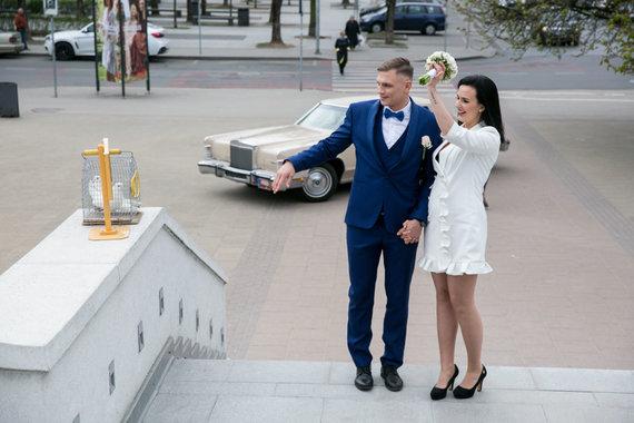 Juliaus Kalinsko / 15min nuotr./Airinės Juodrytės ir Sergejaus Maslobojevo vestuvių akimirka