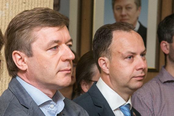 Juliaus Kalinsko / 15min nuotr./Ramūnas Karbauskis ir Aurelijus Veryga