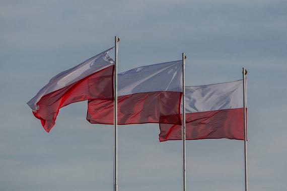 Juliaus Kalinsko / 15min nuotr./Lenkijos vėliavos Juzefo Pilsudskio gimtinėje 2017 m. gruodį