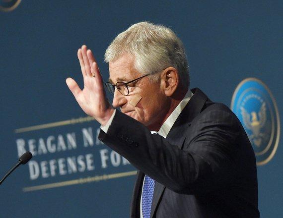 "AFP/""Scanpix"" nuotr./JAV gynybos sekretorius Chuckas Hagelis"