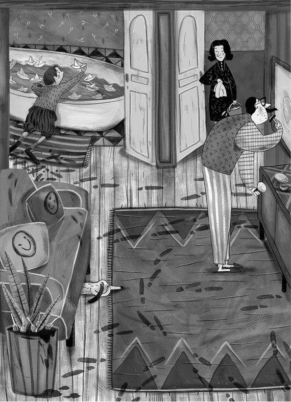 Virgio Šidlausko knygos iliustracija, kurią kūrė Tania Rex