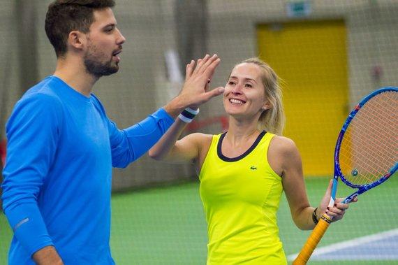 """Augusto Četkausko nuotr./""""Kažkur Matyti"""" ir """"iMatch"""" teniso piramidės merginos draugiškame turnyre"""