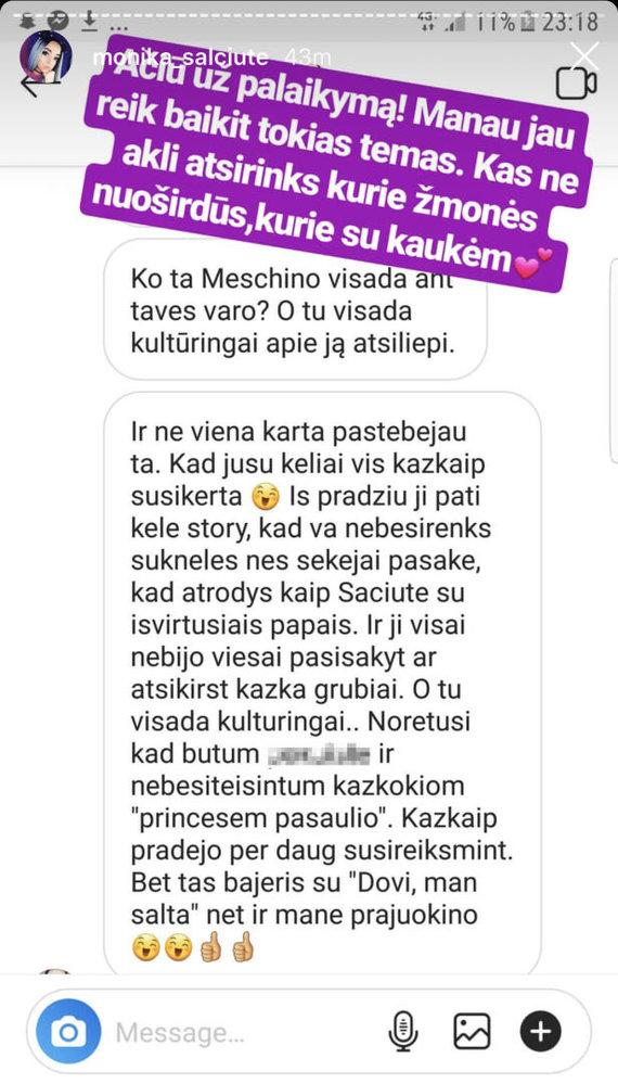 "Monikos Šalčiūtės ""Instagram"" stop kadras"