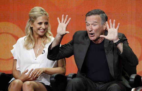 """Reuters""/""Scanpix"" nuotr./Robinas Williamsas ir Sarah Michelle Gellar (2013 m.)"