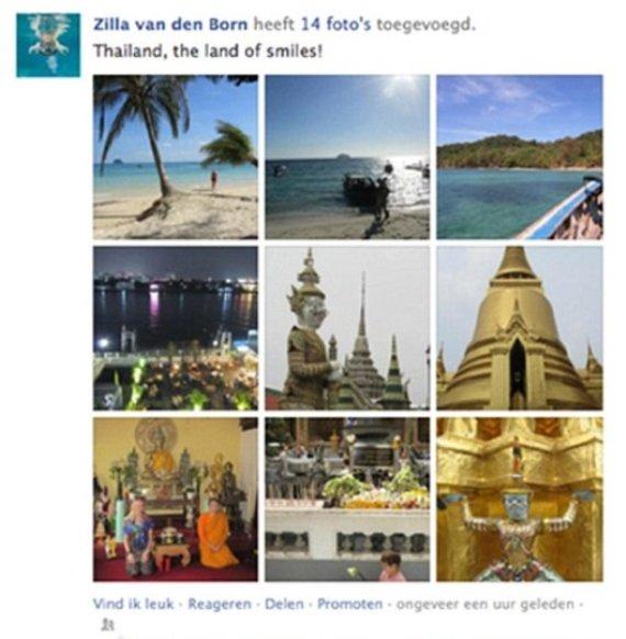Zilla van den Born suklastojo visas savo tariamų atostogų nuotraukas ir pasigyrė draugams, kad 5 savaites praleido Azijoje
