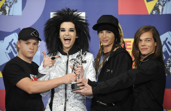"""""""Reuters""""/""""Scanpix"""" nuotr./Grupė """"Tokio Hotel"""" 2008 metais, Tomas Kaulitzas – antras iš dešinės"""