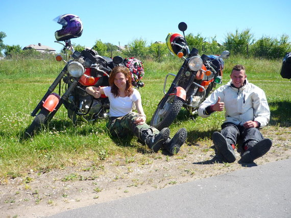 """Aldona ir Marius APL 2015 su """"Jawa"""" motociklais"""