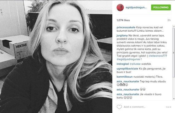 """Egidijaus Dragūno skelbimas """"Instagram"""" tinkle"""