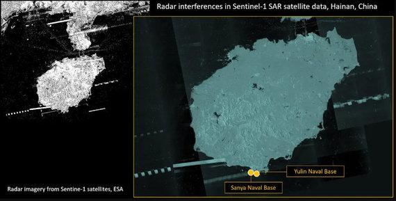 """Radarų susidūrimai strategiškai svarbioje Hainano saloje Pietų Kinijos jūroje. Sudėtinis tam tikrą laiką surinktų duomenų vaizdas. Analizę sudarė """"Twitter"""" vartotojas d-atis, kuris naudoja pasirinktinius įrankius ir metodus."""