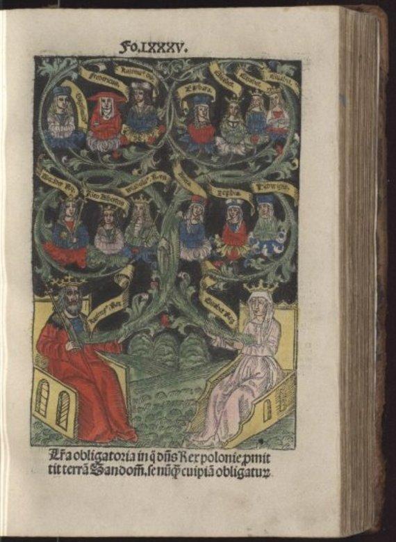 polonia.pl nuotr./Kazimiero Jogailaičio ir Elžbietos Habsburgaitės šeima, 1506 m. spalvotas medžio raižinys
