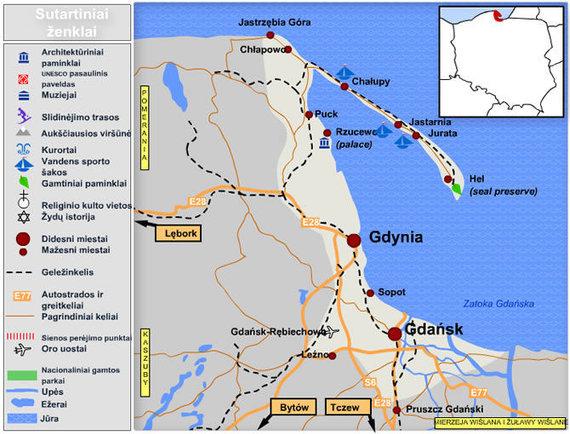 Žemėlapis iš staypoland.com/Helo pusiasalis Lenkijoje