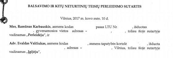R.Karbauskio ir E.Valčiuko sutartis